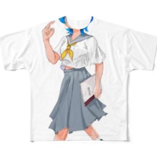 日直セーラー女の子 Full graphic T-shirts