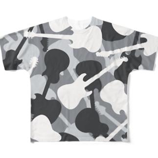 ギターカモフラージュ (グレー) Full graphic T-shirts