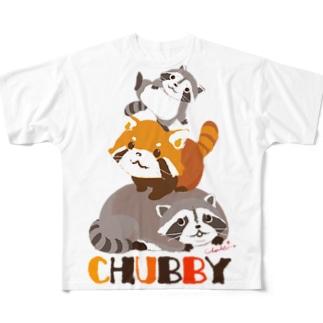 レッサーパンダとアライグマの三段重 Full graphic T-shirts