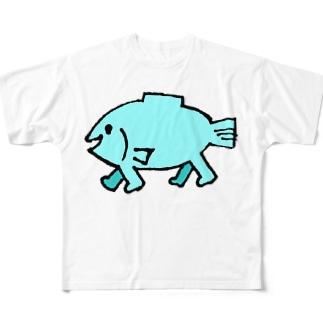 歩く魚 Full graphic T-shirts