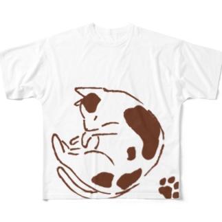 mymyのまるねこ肉球つき Full graphic T-shirts