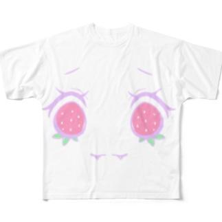 苺のおめめ Full graphic T-shirts