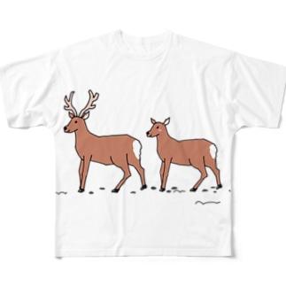 エゾシカカップル Full graphic T-shirts