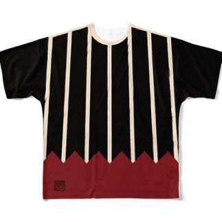 山形文様陣羽織柄 フルグラフィックTシャツ(タイプB) 角印ロゴ Full graphic T-shirts