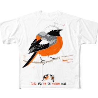 MARU ジョビ丸(大)まるい小鳥 まる過ぎる ジョウビタキ Full graphic T-shirts