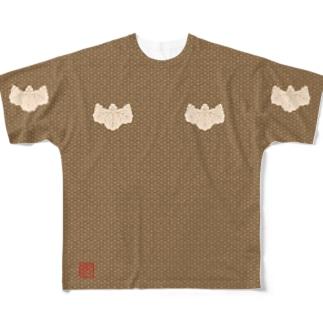 小文地桐紋付韋胴服柄 フルグラフィックTシャツ 角印ロゴ Full graphic T-shirts