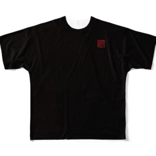 陣羽織 黒鳥毛揚羽蝶模様柄 フルグラフィックTシャツ 角印ロゴ Full graphic T-shirts
