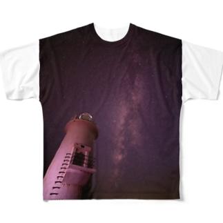 灯台と天の川 Full graphic T-shirts