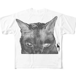 般ニャ -反転・抜き- Full graphic T-shirts