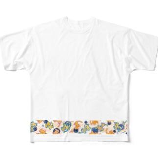 括弧いいネコ 夜空星 透過ver Full graphic T-shirts
