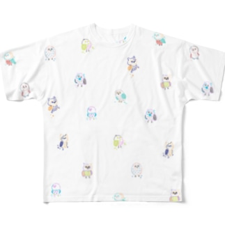 ふくろうさん Full graphic T-shirts