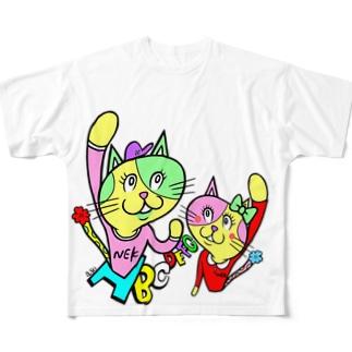ナコオくんとネココちゃん Full graphic T-shirts