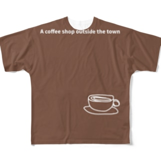 monochromeH2のA coffee shop outside the town Full graphic T-shirts