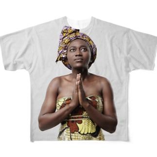 pray 祈りを込めて Full graphic T-shirts