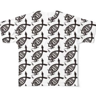DEVILFISHロゴ総柄Tシャツ Full Graphic T-Shirt