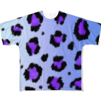 Blue leopard Full graphic T-shirts