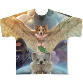 オウルドッグネコエビフライライジング Full graphic T-shirts