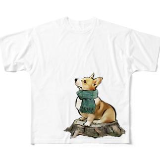 マフラー犬 コーギー Full graphic T-shirts