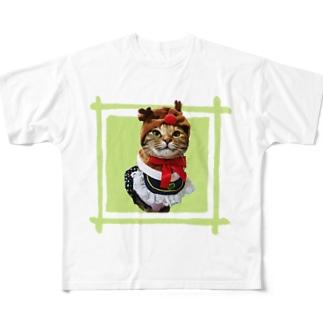 猫プリンちゃんクリスマスver Full graphic T-shirts