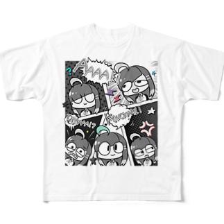 アメコミ風(モノクロカラー) Full graphic T-shirts