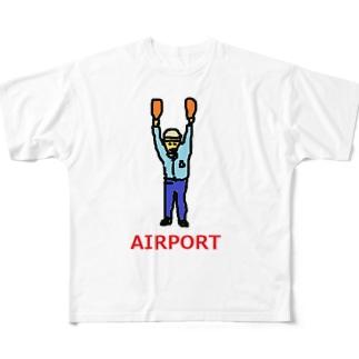 エアライン エアポート マーシャラー 空港 飛行機 Full graphic T-shirts