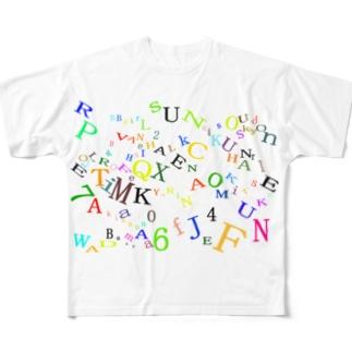 アルファベットと数字の洪水4 Full graphic T-shirts