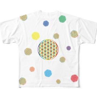 虹チャクラ裏版 Full graphic T-shirts