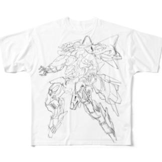 ラフロボデザイン Full graphic T-shirts