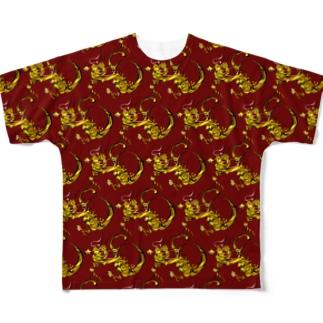龍 パターン 赤 Full graphic T-shirts
