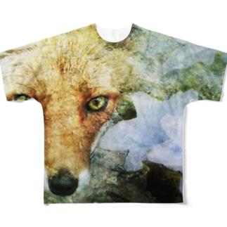 狐と紫陽花 Full graphic T-shirts
