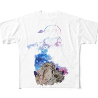 ハートと月 Full graphic T-shirts