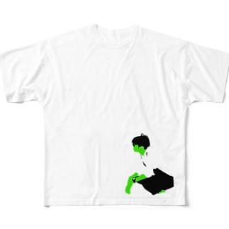緑の人 しゃがんで眺める Full graphic T-shirts