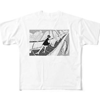 エスカーレーターガール Full graphic T-shirts