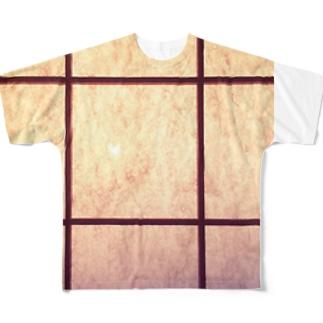 純和風格子柄 淡い🌸 Ongakus photo goods Full graphic T-shirts