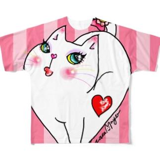 オシャレキャットのハートちゃん(ストライプ) Full graphic T-shirts