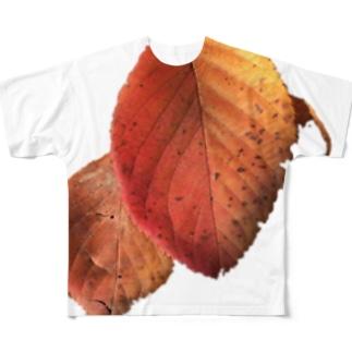 落ち葉拾てん🍁 Ongakus photo goods Full graphic T-shirts