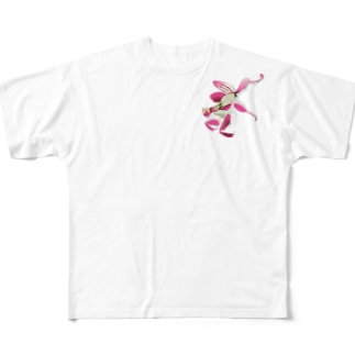 いたずらデザイン(ちょっとハナカマキリついてますよ) Full graphic T-shirts