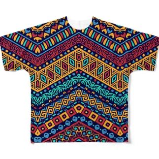 オルテガ柄B(寒色暖色混在系) Full graphic T-shirts