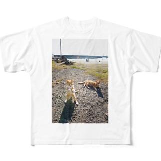 にゃんこボクサー Full graphic T-shirts