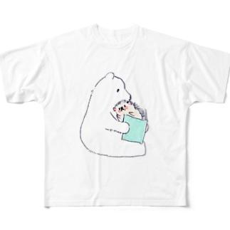 浅山しおん(ハリネズミのソフィー)のオリジナル ハリネズミのソフィー、シロクマに本を読んでもらう。 Full Graphic T-Shirt