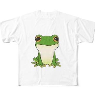 猫キャラクター・シルエット・取りたい Full graphic T-shirts