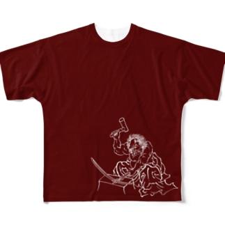 鬼王丸 エンジ Full graphic T-shirts