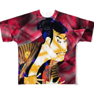 写楽(赤) Full graphic T-shirts