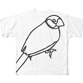 PiZakkuの桜文鳥 線画 Full graphic T-shirts