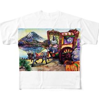 猫と和と牛車と富士山 Full graphic T-shirts