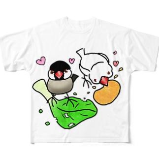 もぐもぐ文鳥ず① Full Graphic T-Shirt