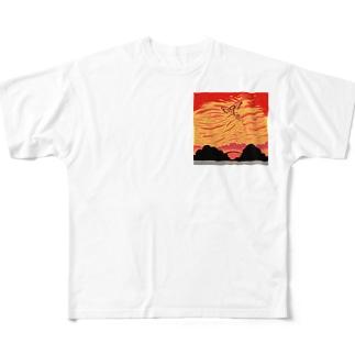 赤い空歩く人【天使】 Full graphic T-shirts