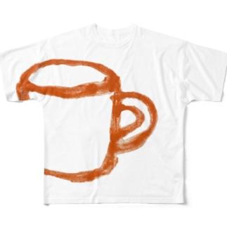 コップ 橙 Full graphic T-shirts