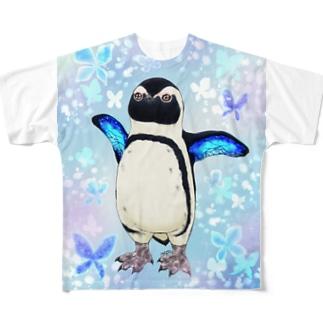 ケープペンギン「ちょうちょ追っかけてたの」(Blue) Full graphic T-shirts