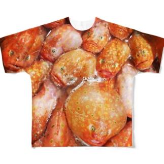 ミドリフサアンコウがてんこもり Full graphic T-shirts